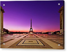 Acrylic Print featuring the photograph Eiffel Tower At Dawn / Paris by Barry O Carroll