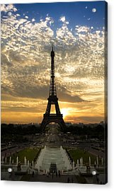 Eiffel Tower At Sunset Acrylic Print by Debra and Dave Vanderlaan