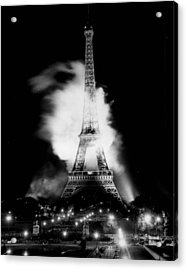 Eiffel Tower Beautiful At Night. Acrylic Print by Retro Images Archive