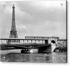 Eiffel Tower Behind Bridge. Acrylic Print by Retro Images Archive