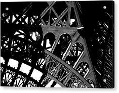 Eiffel Tower Bw Acrylic Print by Jacqueline M Lewis