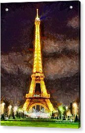Eiffel Tower By Night Acrylic Print by Kai Saarto