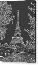 Eiffel Tower Charcoal Negative Image Acrylic Print by L Brown