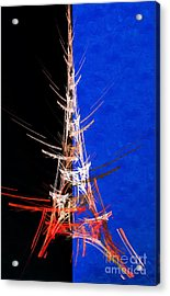 Eiffel Tower In Red On Blue  Abstract  Acrylic Print by Andee Design