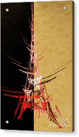 Eiffel Tower In Red On Gold  Abstract  Acrylic Print by Andee Design