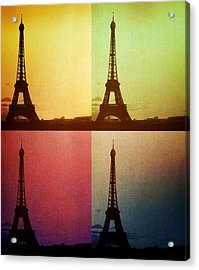Eiffel Tower In Sunset Acrylic Print
