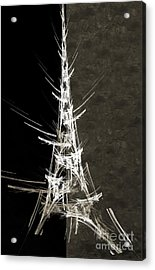 Eiffel Tower In White Bw 2 Abstract Acrylic Print by Andee Design