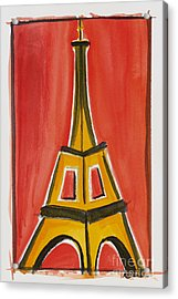 Eiffel Tower Orange And Yellow Acrylic Print