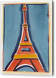 Eiffel Tower Orange Blue Acrylic Print