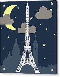 Eiffel Tower Over Night With Stars And Acrylic Print by Atypeek
