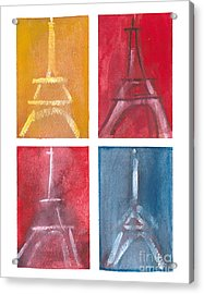 Eiffel Tower Paintings Of 4 Up Acrylic Print by Robyn Saunders