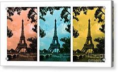 Eiffel Tower Paris France Trio Acrylic Print by Patricia Awapara