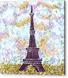 Eiffel Tower Pointillism Acrylic Print by Kristie Hubler