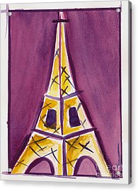 Eiffel Tower Purple And Yellow Acrylic Print