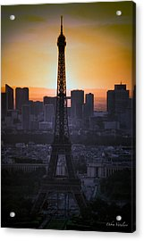 Eiffel Tower Sunset Acrylic Print by Debra     Vatalaro