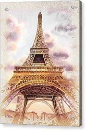 Acrylic Print featuring the painting Eiffel Tower Vintage Art by Irina Sztukowski