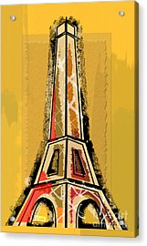 Eiffel Tower Yellow And Red Acrylic Print