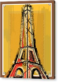 Eiffel Tower Yellow Black And Red Acrylic Print by Robyn Saunders