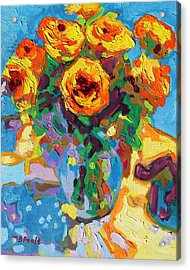 Eight Yellow Roses Oil Painting Bertram Poole Apr14 Acrylic Print by Thomas Bertram POOLE