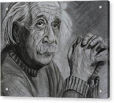Einstein Portrait  Acrylic Print by Megan Wood