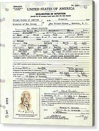 Einstein's Immigration Declaration Acrylic Print