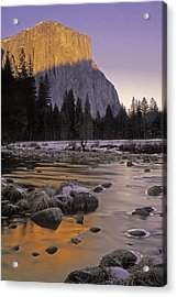 Acrylic Print featuring the photograph El Capitan Sunset And The Merced River by Judi Baker