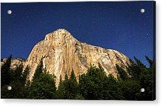 El Capitan Under A Starry Moonlit Night Acrylic Print by Russ Bishop