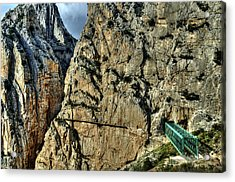 Acrylic Print featuring the photograph El Chorro View With Railway Construction by Julis Simo