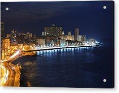 El Malecon, At Night, Havana, Cuba Acrylic Print by B&M Noskowski