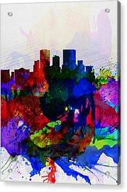 El Paseo Watercolor Skyline Acrylic Print by Naxart Studio