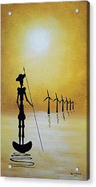 Don Quixote Fighting The Windmills Acrylic Print by Edwin Alverio