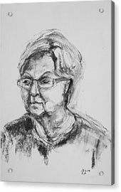 Elderly Lady With Glasses Acrylic Print by Barbara Pommerenke