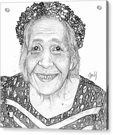 Acrylic Print featuring the drawing Elderly Marshallese Woman by Lew Davis