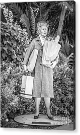 Elderly Shopper Statue Key West - Black And White Acrylic Print by Ian Monk