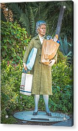 Elderly Shopper Statue Key West - Hdr Style Acrylic Print
