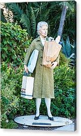 Elderly Shopper Statue Key West Acrylic Print by Ian Monk
