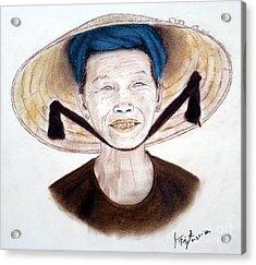 Elderly Vietnamese Woman Wearing A Conical Hat Acrylic Print by Jim Fitzpatrick