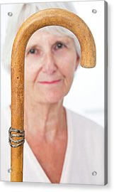 Elderly Woman And Walking Stick Acrylic Print by Lea Paterson