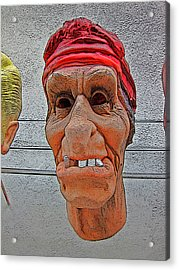 Elderly Woman Behind The Counter In A Small Town  Acrylic Print by Andy Za