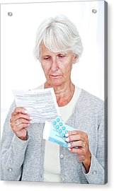 Elderly Woman With Medication Acrylic Print