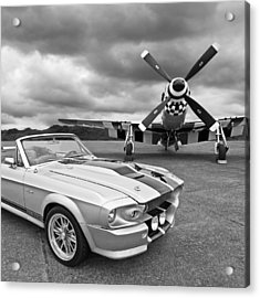 Eleanor Mustang With P51 Black And White Acrylic Print by Gill Billington