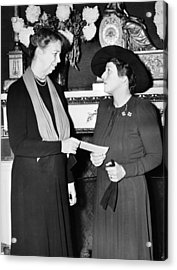 Eleanor Roosevelt & Pearl Buck Acrylic Print by Underwood Archives
