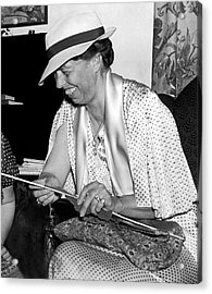 Eleanor Roosevelt Knitting Acrylic Print by Underwood Archives