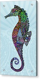 Acrylic Print featuring the drawing Electric Gentleman Seahorse by Tammy Wetzel