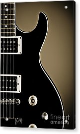 Electric Guitar Photograph In Black And White Sepia 3319.01 Acrylic Print