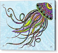 Acrylic Print featuring the drawing Electric Jellyfish by Tammy Wetzel