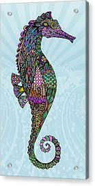 Acrylic Print featuring the drawing Electric Lady Seahorse  by Tammy Wetzel