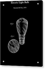 Electric Light Bulb Patent 1970 Acrylic Print by Mountain Dreams