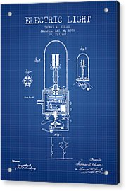 Electric Light Patent From 1880 - Blueprint Acrylic Print by Aged Pixel