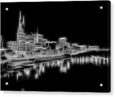 Electric Nashville Skyline At Night Acrylic Print by Dan Sproul